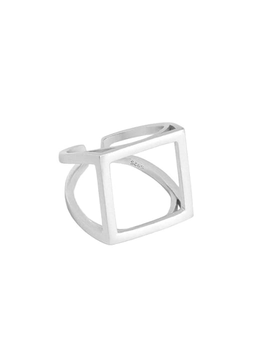 Silver [size 15 adjustable] 925 Sterling Silver Hollow Geometric Ethnic Band Ring